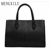 MENGXILU Genuine Leather Bags For Women Bag Laides Casual Tote Bag With Top Handle High Quality Real Leather Business Handbags