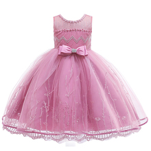 цены Princess Girl Party Dresses Flower Petals Bow Wedding Dress for Christmas Kids Birthday Clothes 0-10 Years