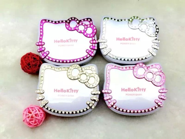 Luxury Hello Kitty makeup Mirror Power Bank 8800mah  External Powerbank portable battery charger for iphone 6 6s samsung s5 s6
