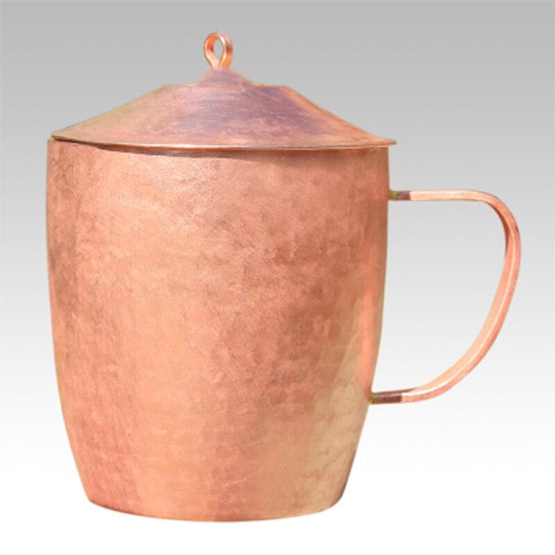 Tasse à thé classique en cuivre pur tasse à thé faite à la main épais solide poli de haute qualité tasses en cuivre rouge artisanal tasse avec couvercle 650 ml-in tasses from Maison & Animalerie    2
