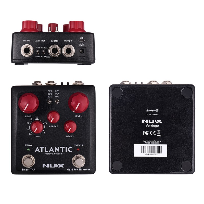 NUX-ATLANTIC-Delay-Reverb-Guitar-Pedal-Dual-Footswitch-3-Delay-Effects-3-Reverb-Effects-True-Bypass(3)