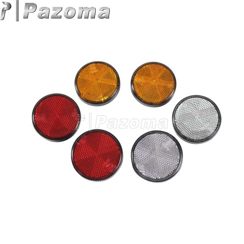 Pazoma Motorcycle Universal Round Circular Red Amber White Reflector Trailers ATV Dirt Bike