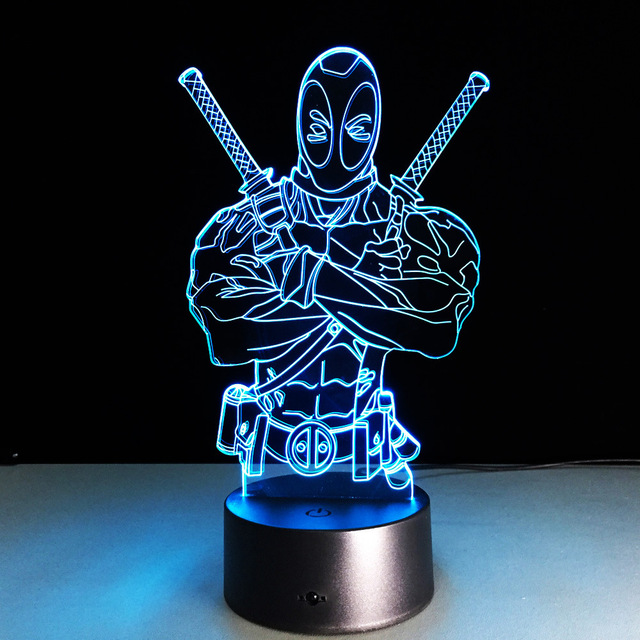 USB Marvel Lampe 3D Illusion Deadpool Lamp Color Changing Mood Lighting For  Halloween Easter Thanksgiving Christmas