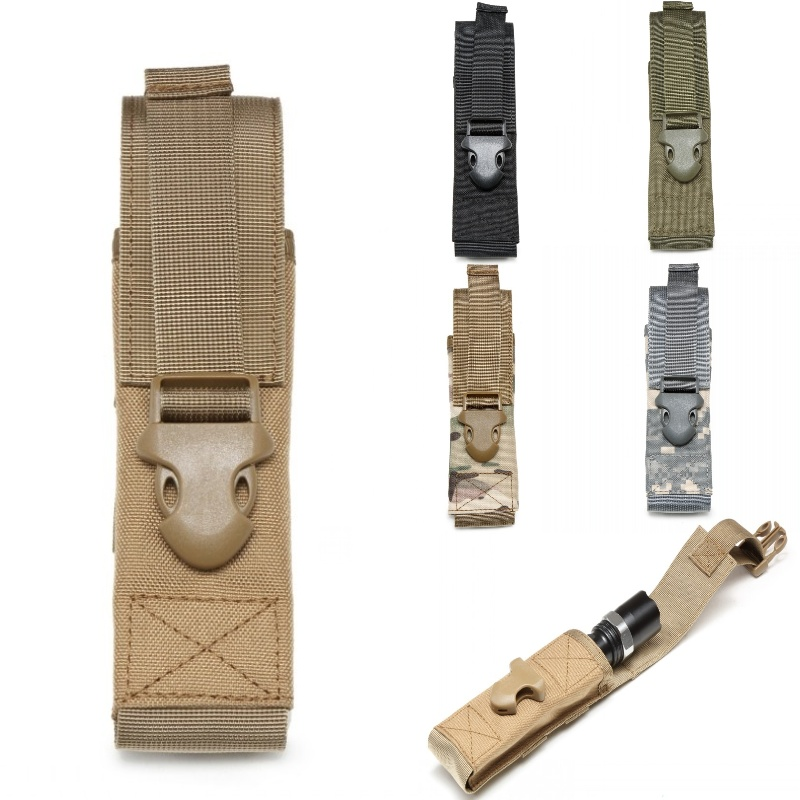 CQC 1000D Nylon Airsoft Tactical Molle Flashlight Pouch Torch Holder EDC Tool Bag Military Camping Hiking Hunting Light Holster