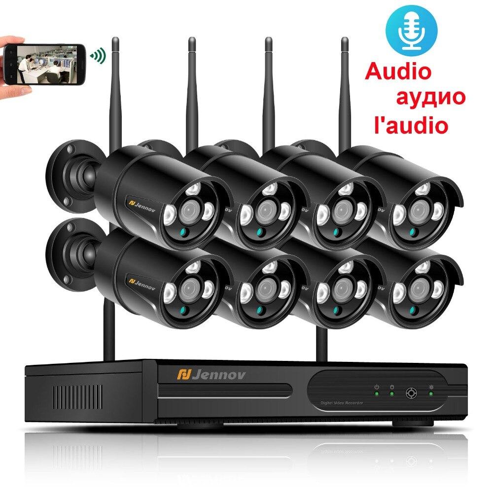 HD Senza Fili del CCTV Sistema 8CH 1080 p di Sicurezza NVR 2MP Audio Esterna Impermeabile del IP di Wifi Della Macchina Fotografica P2P Video di Sorveglianza Kit 2 tb HDD