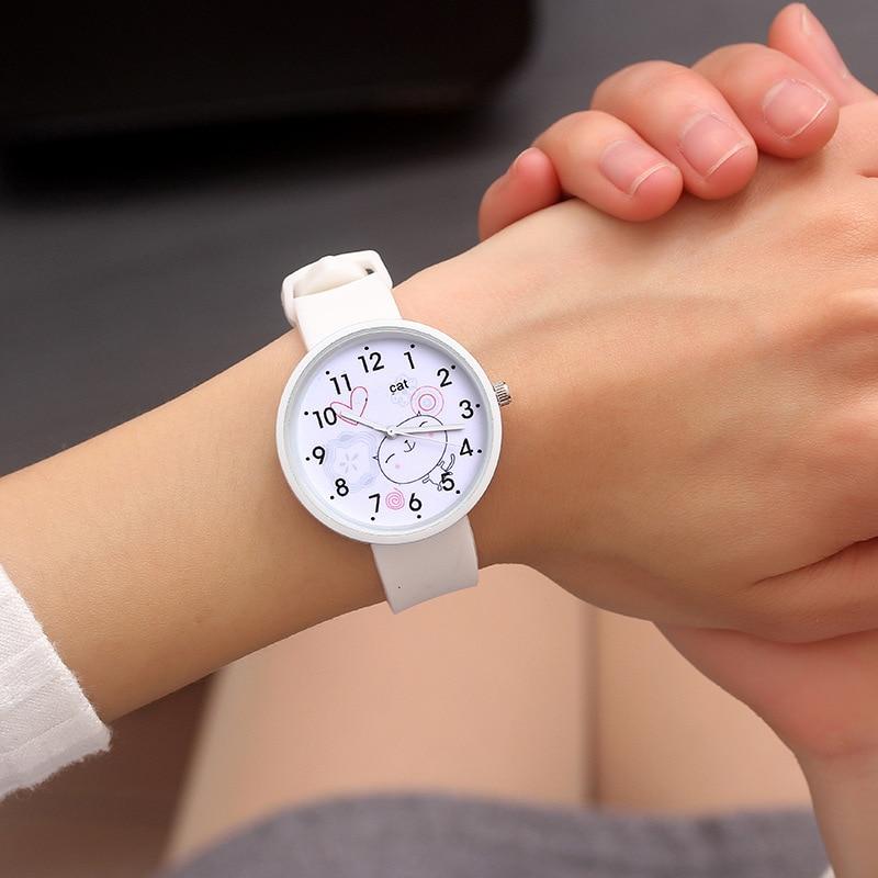 New Fashion Girl Watch Cartoon Cats Pattern Casual Quartz Wristwatches Kids Children Wrist Watch Simple Ladies Watches  VL