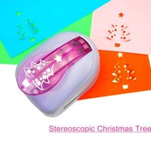 Image 1 - Estereoscópico de alta Qualidade Árvore de Natal Em Forma De Soco Espuma Perfurador do Ofício Dos Miúdos DIY Ferramentas Cortador De Papel Scrapbooking Furadores