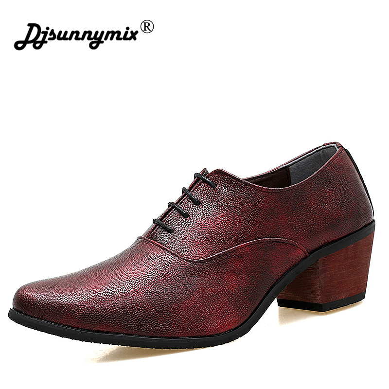 DJSUNNYMIX Brand Men wedding shoes red black heighten heel party dress office shoes high heel 6cm