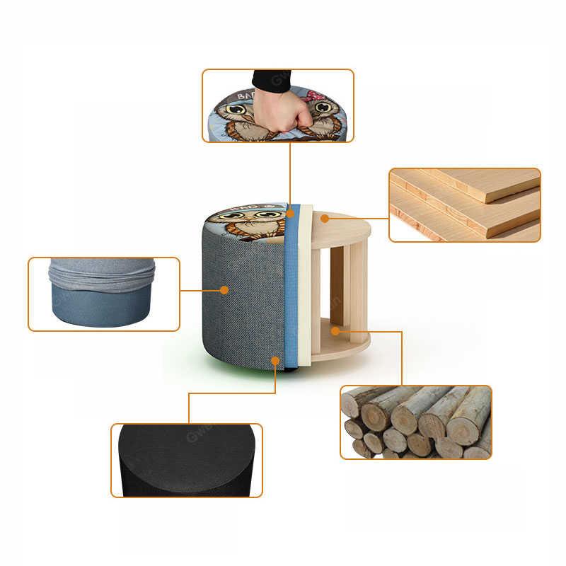 Современный круглый тканевый деревянный стул для детей с животными и фруктами, маленький стул для ног, стул оттоманский, детская мебель, прикроватная скамья