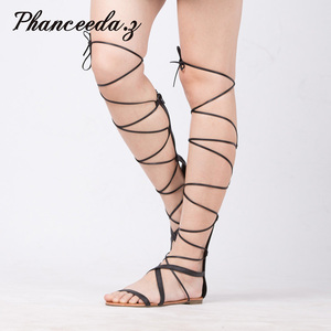Image 1 - New 2019 Shoes Women Sandals Casual Flat Lace Up Sexy Knee High Boots Gladiator Tie String Designer Good Quality Summer Style