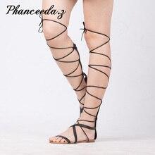 Nowy 2019 buty damskie sandały na co dzień płaskie koronki Up seksowne buty do kolan Gladiator sznureczek do przywiązania projektant dobrej jakości lato styl