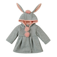 Baby Infant Girls Boys Autumn Winter Hooded Coat Cloak Jacket Thick Warm Clothes Fashion Cute Rabbit