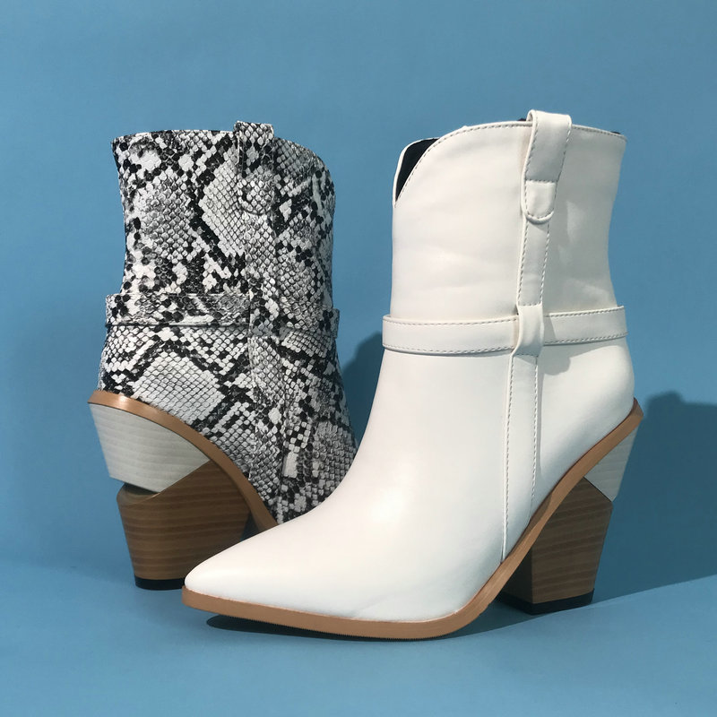 White Black Brown Women Ankle Boots Autumn Winter Western Cowboy Boots for Women Snake Print High