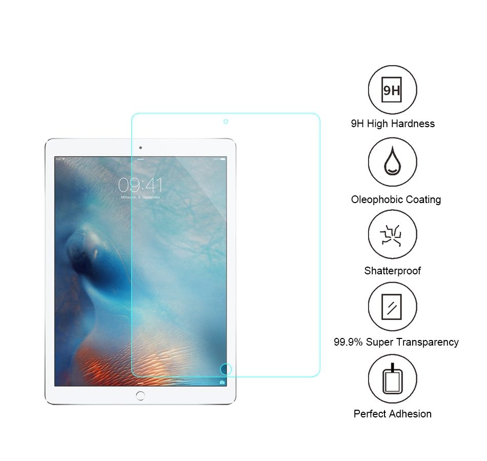 KISSCASE Premium Tempered Glass Case For iPad 2 3 4 Pro 9 7 12 9 Inch