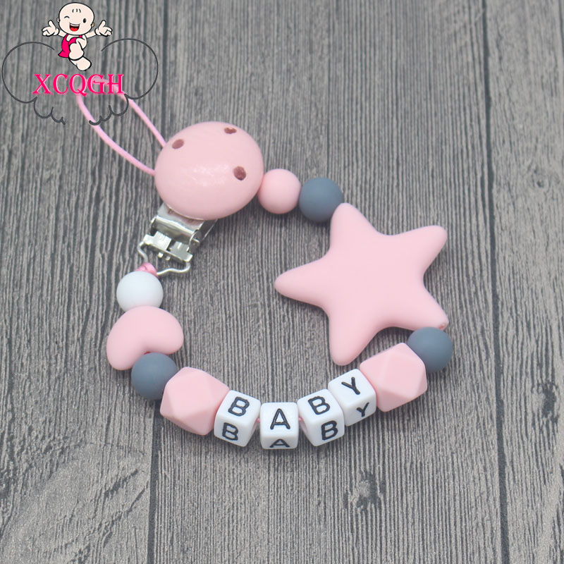 xcqgh-personalized-name-handmade-pacifier-clips-holder-chain-silicone-pacifier-chains-five-star-baby-teether-teething-chain