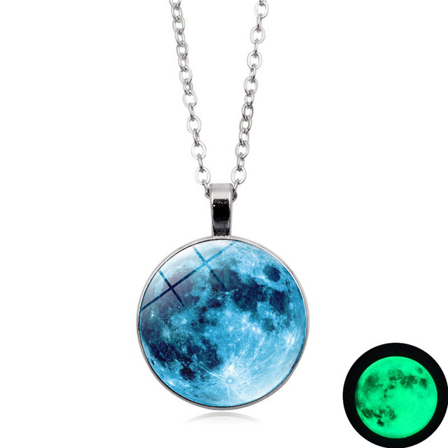 Glow In The Dark Blue Moon Necklace Gl Dome Cabochon Pendant Fashion Jewelry Silver Chain Luminous Women Gifts