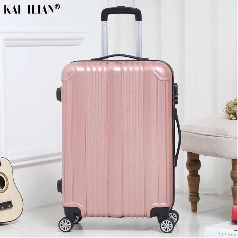 New hot Mulheres viajar mala-carry ons Girador rolando bagagem sobre rodas 20/22/24 polegada Cabine caixa do trole da bagagem dos homens de moda