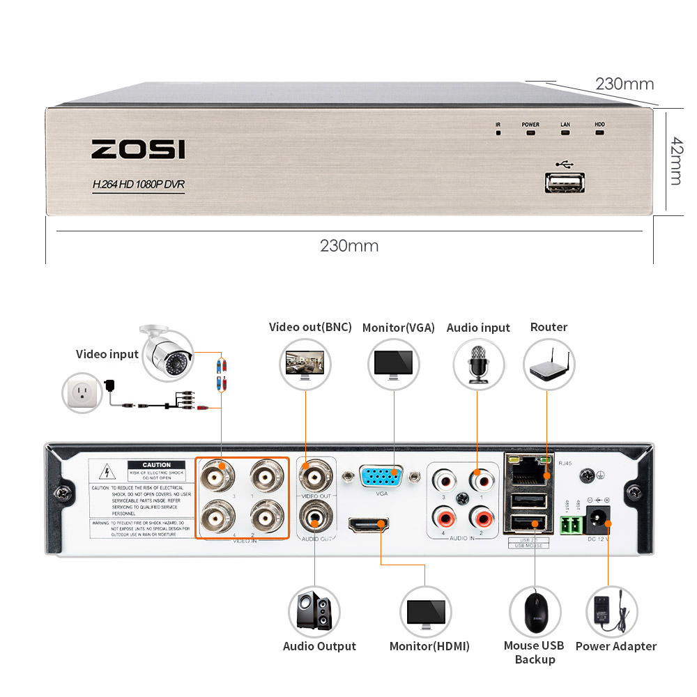 ZOSI 4CH 1080P HDMI P2P TVI CCTV Surveillance Camera System With DVR For Home Security