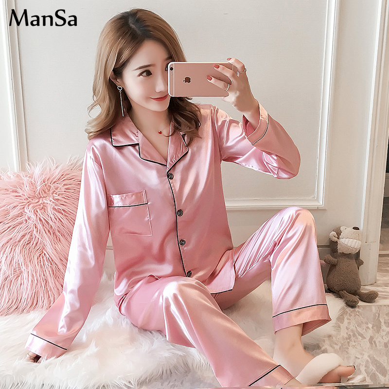 Long Sleeve Silk   Pajamas   for Women Autumn   Pajama     Set   Silk Satin Pijama mujeer pink Pyjamas Plus Size 3XL 4XL 5XL Sleepwear suit