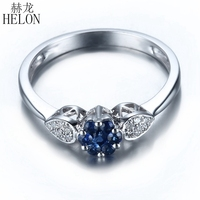HELON Sterling Silver 0.4ct Natural Sapphires Diamonds Engagement Wedding Ring Anniversary Party Women Band Fine Jewelry Trendy