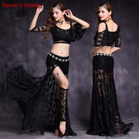 2018 Lace Bellydance Costume 2pcs Set Top&Skirt New Model Hot Sale Women Belly Dance Suits Performance Wear Long Skirt