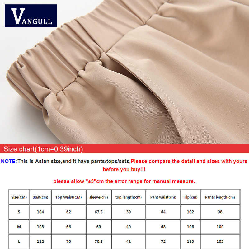 Vangull 女性スーツ作物トップスパンツツーピース女性の春の秋カジュアルセットバックルストリートジャケットパンツセット女性の仕事スーツ