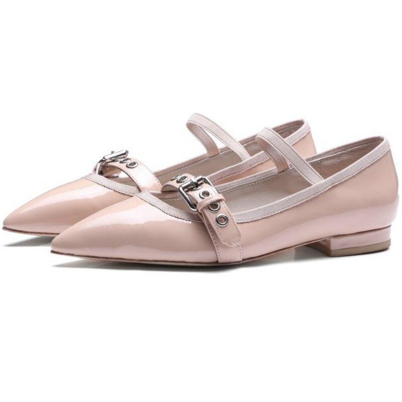 ФОТО Top brand designs women spring summer 2017 full genuine leather flat heel mary janes single shoes woman poinet toe ballet flats