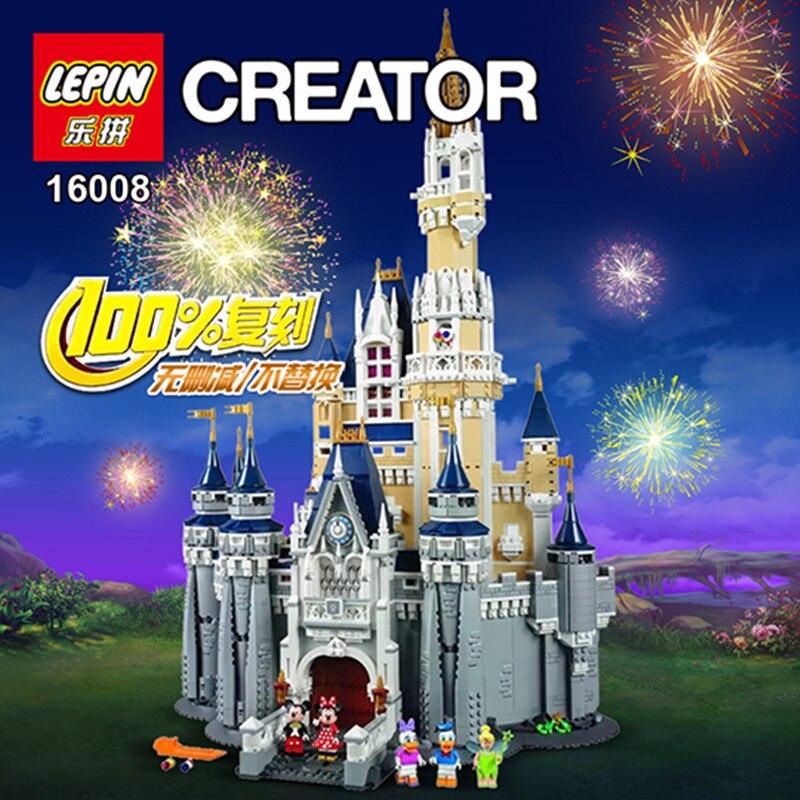 AA Lepin 16008 Créateur Cendrillon Princesse Château Ville 4080 pcs Modèle Building Block Enfants Jouet Cadeau Compatible 71040 cadeaux