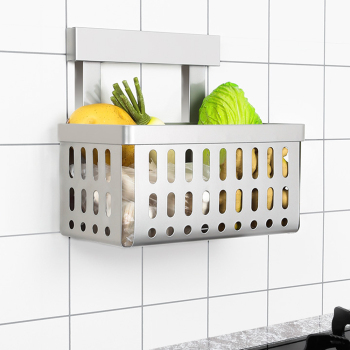 Kitchen racks 304 stainless steel wall mounted vegetable shelf free punching Provincial space basket storage basket wx8071157