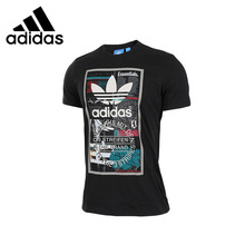 ADIDAS Original New Arrival Mens Breathable T-shirt Short Sleeve Pattern Printed Cotton tops For Men
