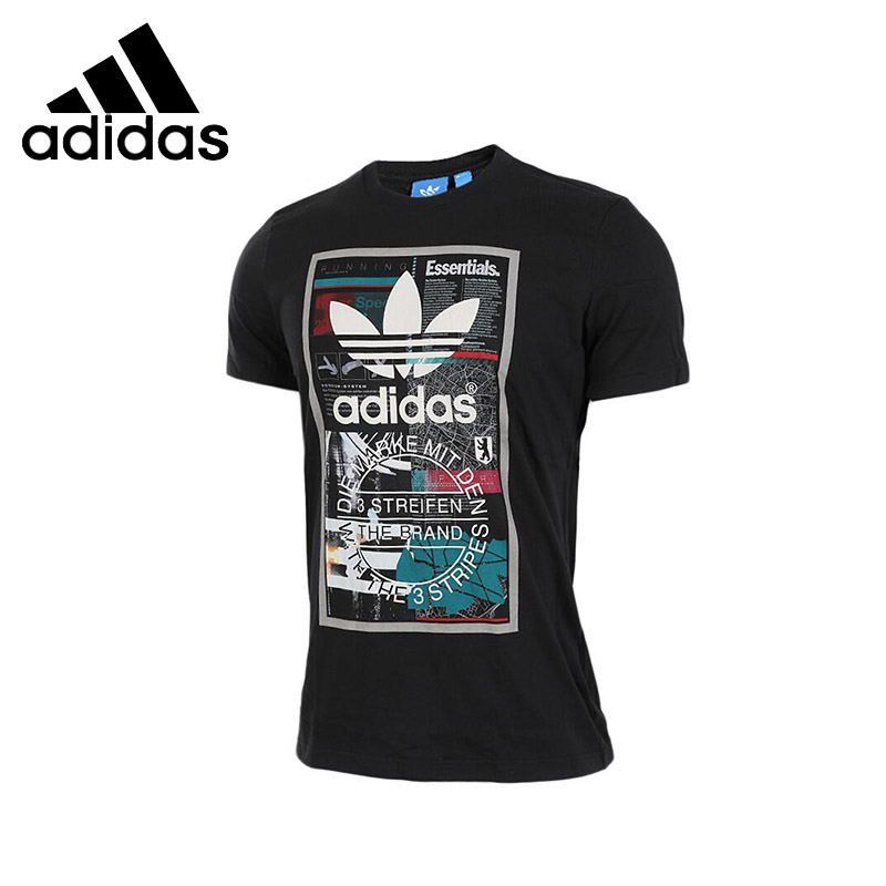 ADIDAS Original New Arrival Mens Breathable T-shirt Short Sleeve Pattern Printed Cotton tops For Men new mens colors short sleeve cotton tshirt henry kissinger quote absence