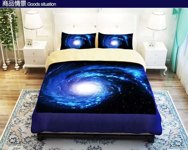 Genial Cool Blue Starry Sky Universe Bedding Set Duvet Cover Twin Queen King Size  Fitted Bed Sheet