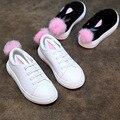 Высокое качество Дети Shoes девушки ИСКУССТВЕННАЯ Кожа Кроличьи уши Детей Кроссовки девочка Shoes Спорт Осень Зима Детей Shoes