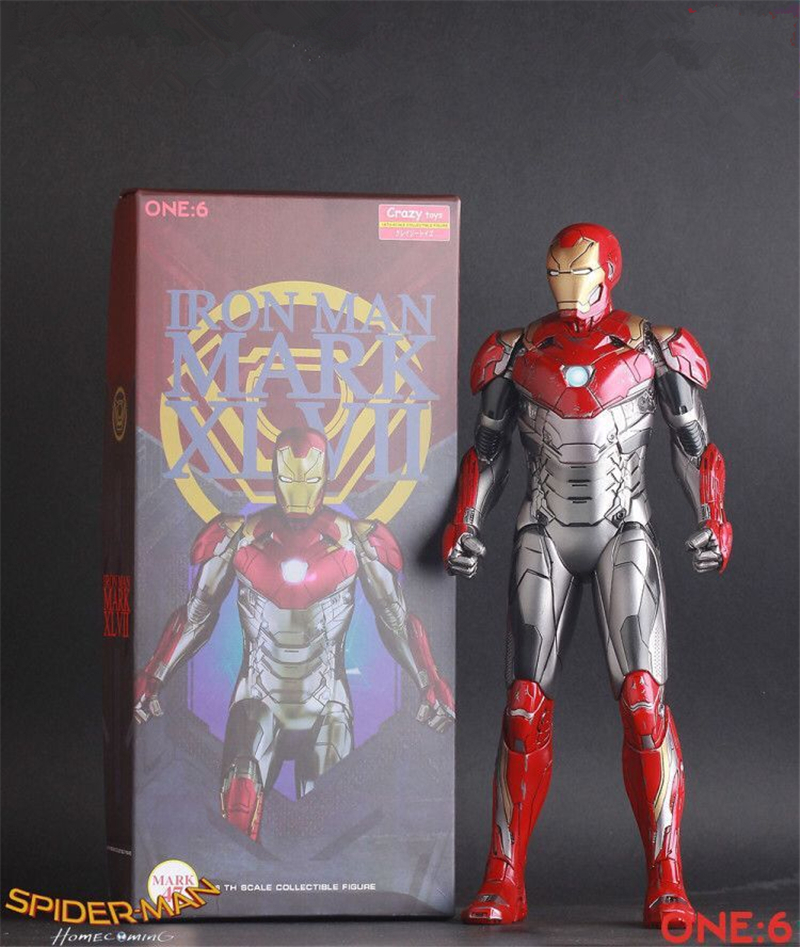 Crazy Toys Marvel Spider Man Homecoming Iron Man MARK XLVII MK 47 1/6 Scale PVC Action Figure Collection Model Toys Doll 30cm