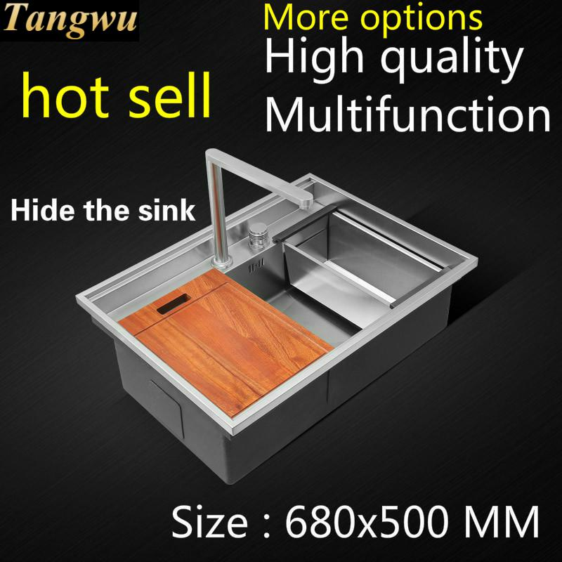 Free Shipping Apartmen Luxurious Kitchen Manual Sink Single Trough Hidden Durable Food-grade Stainless Steel Hot Sell 68x50 CM