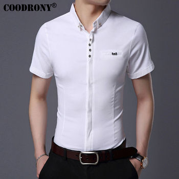COODRONY 2017 Spring Summer New Business Casual Short Sleeve Shirt With Pocket Pure Cotton Shirt Men Slim Fit Chemise Male S7709