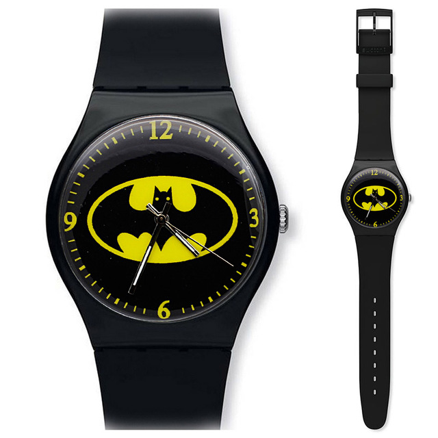 Black Personality Children's Watch Cartoon Batman Silicone Men's Sports Watch Girl Birthday Gift Clock Kol Saati