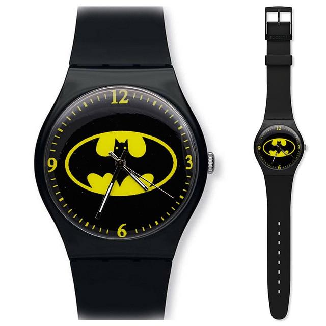 Black Personality Children's Watch Cartoon Batman Silicone Men's Sports Watch Girl Birthday Gift Clock Kol Saati