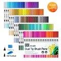 Художественные маркеры  двойные кончики  Цветная кисть  цветные ручки  100 цветов  маркер на водной основе для каллиграфии  ручка для эскизов