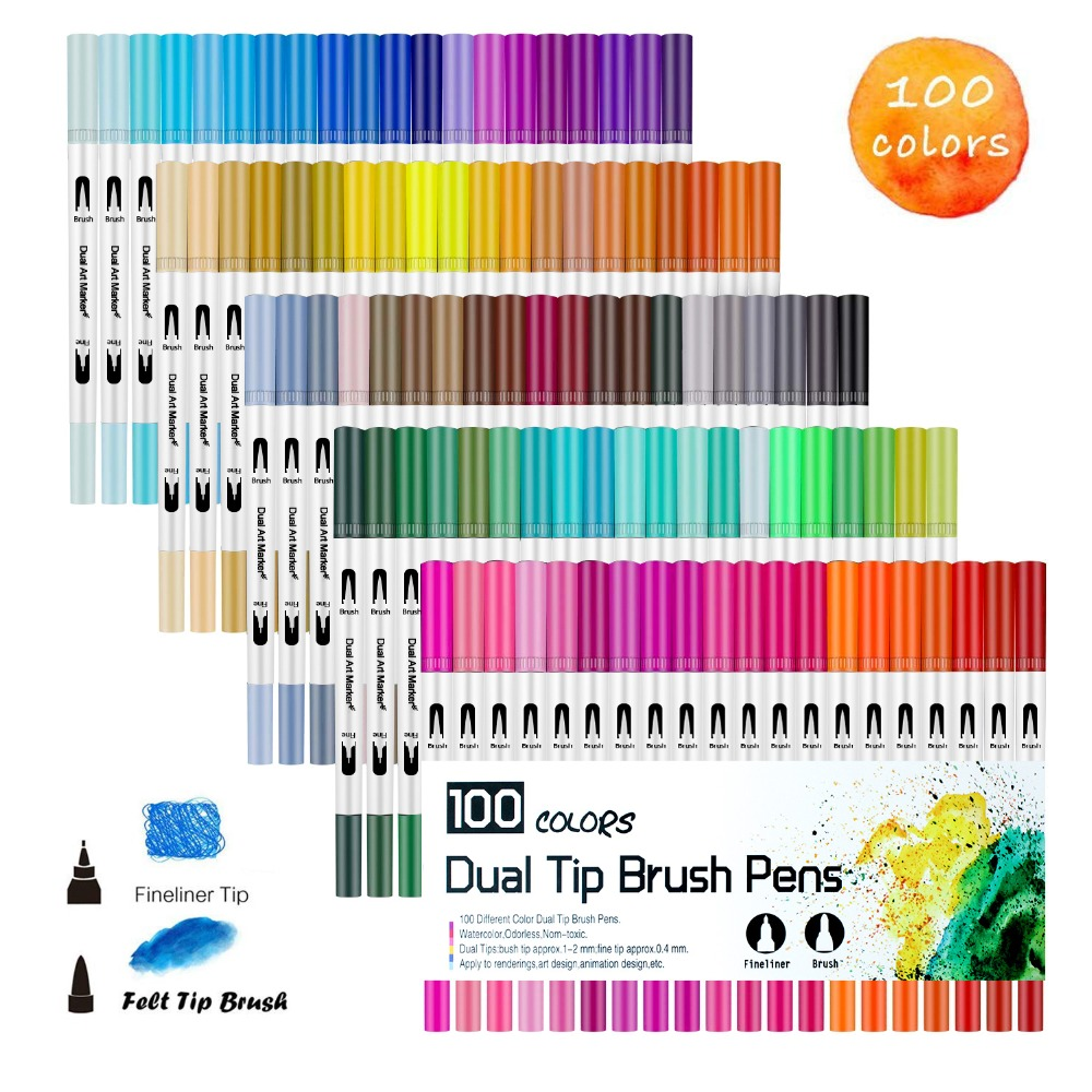 Art Markers Dual Tips Coloring Brush Fineliner Color Pens,100 Colors of Water Based Marker for Calligraphy Drawing Sketching PenArt Markers Dual Tips Coloring Brush Fineliner Color Pens,100 Colors of Water Based Marker for Calligraphy Drawing Sketching Pen