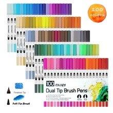 Rotuladores de arte pincel para colorear de doble punta Fineliner bolígrafos de Color, 100 colores de marcador a base de agua para dibujo y caligrafía bolígrafo para dibujo