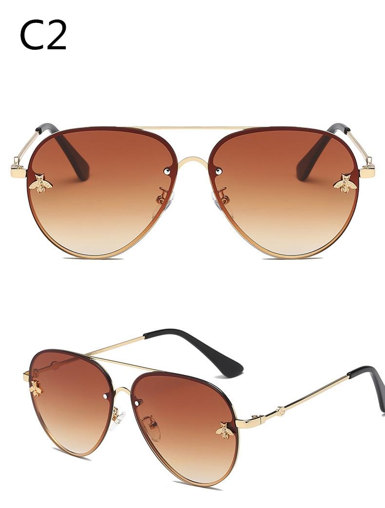 ASOUZ 2019 new fashion ladies sunglasses UV400 metal oval frame bee sunglasses classic brand design sports driving sunglasses (2)