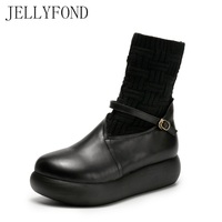 Original Designer Women Genuine Leather Platform Boots 2017 Autumn Retro Style Knitted Patchwork Mid Calf Boots