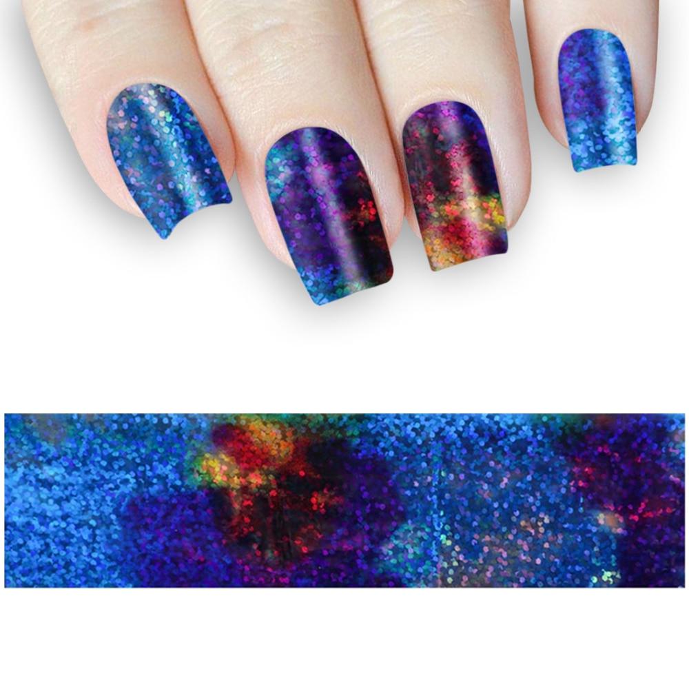 1m Gradient Starry Sky Galaxy Nail Foil Blue Holographic Paper Decor ...