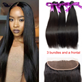 Mink Brazilian Straight With Frontal HumanHair Bundles With Full Lace Closure Brazilian Virgin Hair Ear To Ear Lace Frontal
