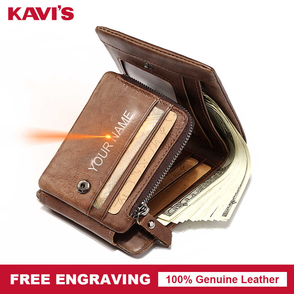 KAVIS Free Engraving Trifold Genuine Leather Men Wallet Coin Purse Male Cuzdan Zipper Walet Portomonee PORTFOLIO Card Holder For