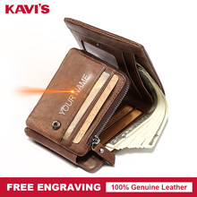 KAVIS Free Engraving Trifold Genuine Leather Men Wallet Coin Purse Male Cuzdan Zipper Walet Portomonee PORTFOLIO Card Holder For(China)
