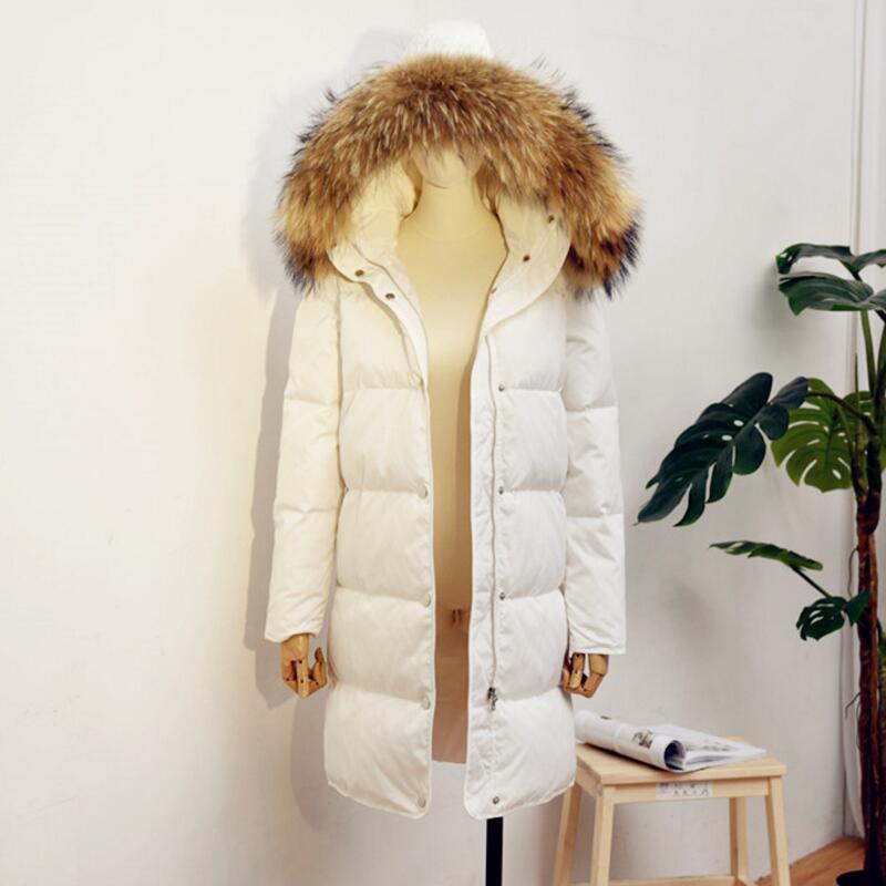 Новый осень-зима меховой воротник длинные толстые пуховики Для женщин белая утка вниз куртка шляпа съемный ветрозащитный женский Outwears Mw107