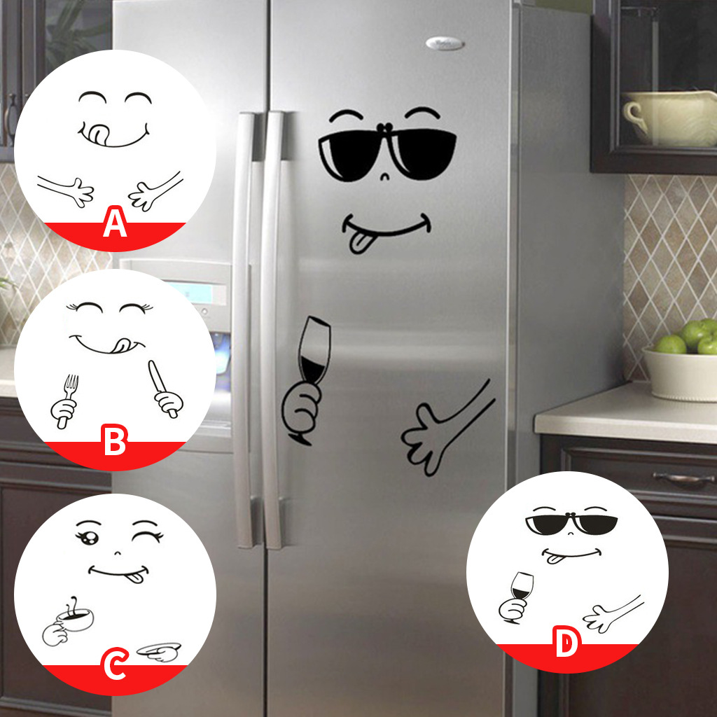 Funny smiley face Fridge sticker Creative cupboard for Home Decoration Cartoon Sunglasses Smiley Face Fridge wall stickers