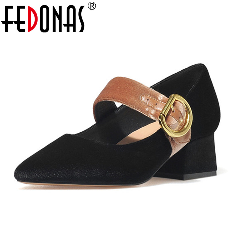 FEDONAS Women Fashion Mary Jane Pumps Sexy Pointed Toe Buckles Spring New Shoes Woman Retro High Quality Ladies Comfortable Pump new 2017 spring summer women shoes pointed toe high quality brand fashion womens flats ladies plus size 41 sweet flock t179